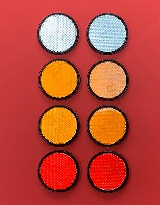 Set of 8 RADEX Round 60mm Reflector Self Adhesive for Fences/Posts/Driveways