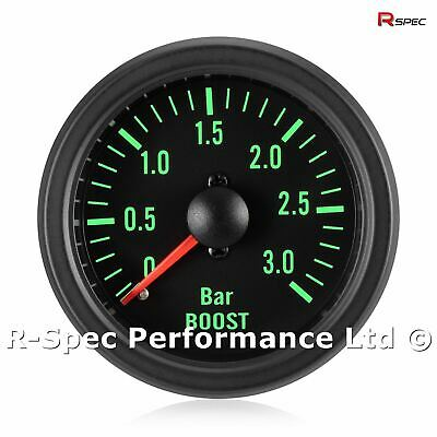 52mm Green Traditional 3 Bar Turbo Diesel Black Face Boost Pressure Gauge Kit