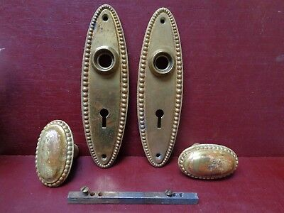 Vintage Reproduction Heavy Cast Brass Door Knobs & Back Plates #0