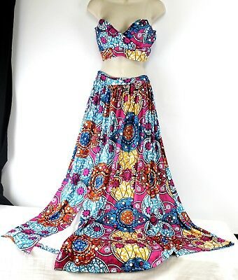 Dance Maxi-Skirt Crop Top Bra Small Abstract Stained Glass Blue Orange Pink