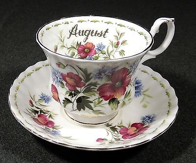 Royal Albert England Flower Of The Month August Poppy Coffee Tea Cup Saucer