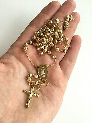 """14K Yellow Gold Plated Guadalupe Rosary 26"""" long / Rosario De Guadalupe 26"""""""