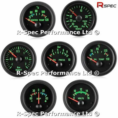 ANY 3 GAUGE OFFER 52mm Green Traditional Black Face Boost Oil Pressure Temp Volt