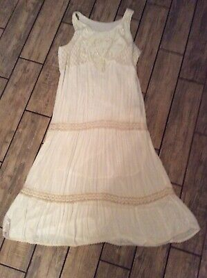 XL Ivory Long Cotton/Beaded Dress from Gauzeway - Aids DRSF Rescue Suli
