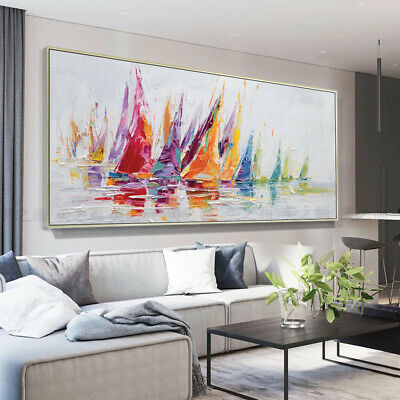 """HH371 Large 100% Hand-painted Canvas oil painting Abstract BOATS Unframed 48"""""""