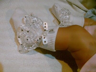 Romany Bling  Girls Babies  White Frilly  Lace Socks With Crystals Christening