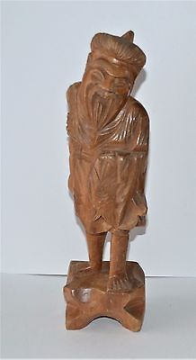 VTG Hand Carved Wood Sculpture Smiling Bearded Asian Man Carrying Fish