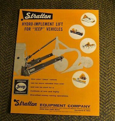 VTG 1960 Advertising Stratton Hydro-Implement Lift Willys Jeep