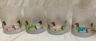 Set 4 Frosted Tropical Dachshund 8oz Glasses  AIDS DRSF Rescue Suli