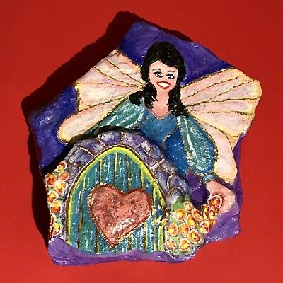 Fairy Hand Painted on a Fairy House; On A Rock - by Kathy Norman - One of a Kind