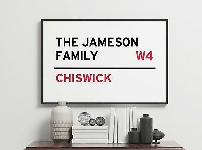 Family Postcode Name Custom Personalised Sign Gift Gallery Wall Art Poster Print