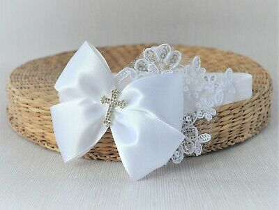 Baby white bow with Diamante Cross sequin lace hairband for Christening Handmade