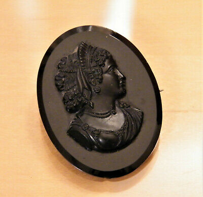 Antique Black Whitby Natural Carved ~VICTORIAN~ JET CAMEO BROOCH Pin Classical