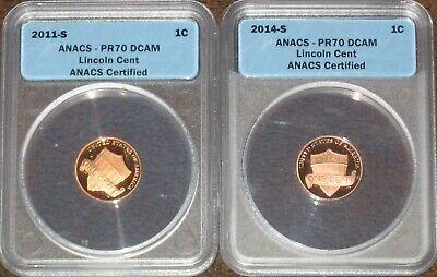 2011 & 2014 S Proof Lincoln Shield Penny Anacs graded PR70 DCAM Red RD Set Lot