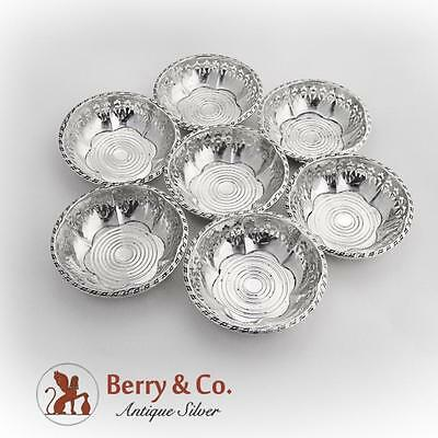 Ornate Cutwork Nut Cups Set George H French Sterling Silver 1940