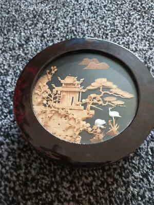 vintage Chinese lacquer wood box with cork decorated scene