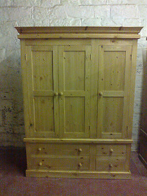 Old Mill Pine Furniture Victorian Range Triple 4 Drawer Wardrobe Antique Handwax
