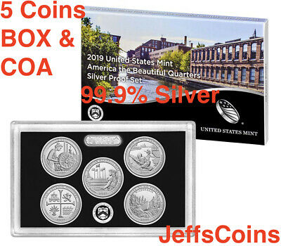2019 S 99.9% SILVER Quarters Mint Proof Set Lowell -Frank Church W/ Box COA 19aq