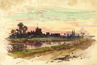 George Dunkerton Hiscox, Windsor Castle Thames-19th-century watercolour painting