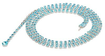 Womens Crystal Waist Chain Belt Silver Blue Gem Rhinestone Diamante Necklace