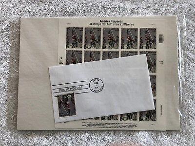 America Responds Stamp Sheet of 20 + First Day of Issue SEALED! USPS 2002 MNH