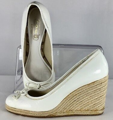 2f948260bc Coach Ireland Wedge Heels Womens Size 6 M White Patent Leather Slip On Bow  Shoes