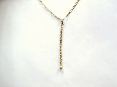 L@@K Real 10k Yellow GOLD Rope design String Pendant Charm with small Ball Ma