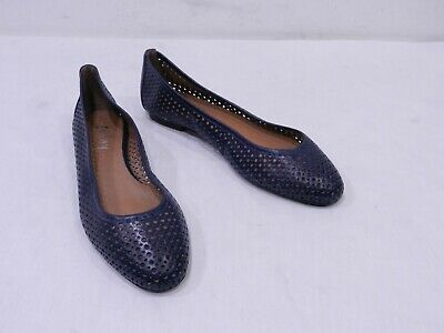 d357da98b168f fs/ny French Sole New York Womens 9.5 Blue Perforated Leather Ballet Flats  Shoes