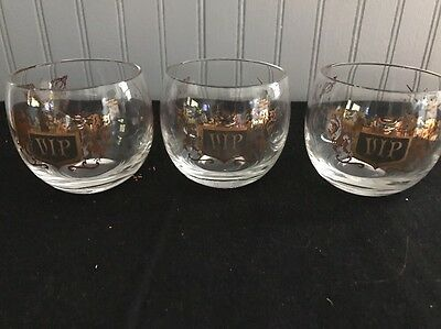 2 VIP Barware Whiskey On The Rocks Glasses Vintage Gold Crest Set Roly Poly Mad