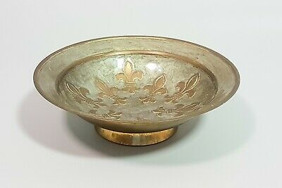 Antique vintage brass enamel fleur-de-lis French small bowl trinket dish decor