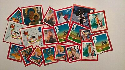 20 Unfranked Second Class Christmas Stamps On Red Paper