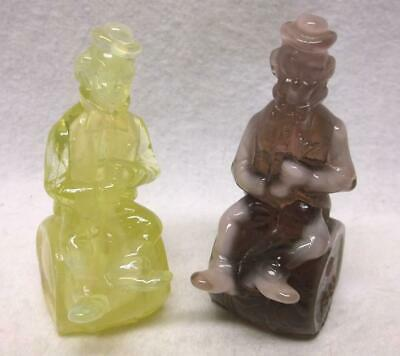 """Mosser slag glass clowns Rufus and Quin 1982 """"The Performer"""""""