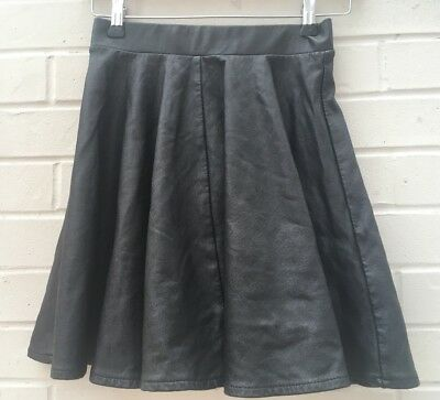 252482854 Topshop Womens Size Uk 8 EUR 36 Pleather Faux Leather Black Skater Skirt Us4