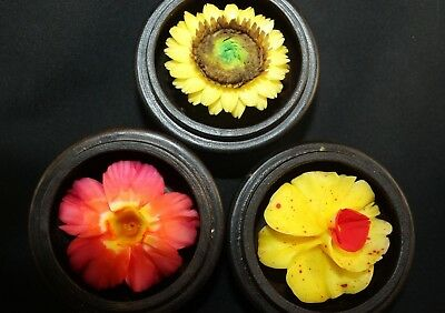 """Hand Carved Soap Flowers in Wood Box Decorative Metal Top  3"""""""