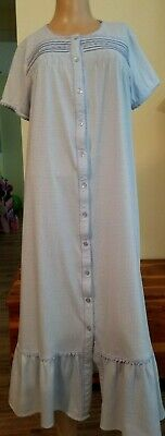 Ashley Taylor Vintage Long Blue Night Gown Cap Sleeve Detailed Trim, Stitching M