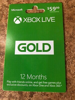 Microsoft Live12 Month Gold Membership Card for Xbox 360 / Xbox one Card