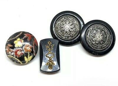 Antique Victorian Button Lot Jet, Glass And Inlaid Buttons Floral