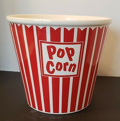 MSRF Design studios Ceramic Red and White Popcorn bowl 7 inches by 8 inches