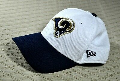 19c0553ae0ca72 Los Angeles RAMS Hat Cap 39Thirty NFL White Fitted S/M Blue Gold LOGO New