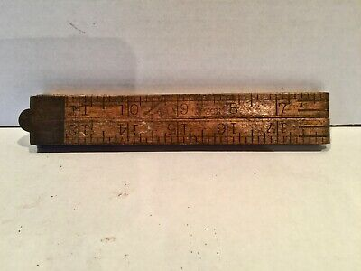 VINTAGE UPSON NUT CO. 24 INCH No 61 WOODEN FOLDING RULER ANTIQUE BOX WOOD BRASS
