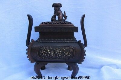Chinese buddhism red bronze copper carved Foo Dogs lions Incense Burner Censer