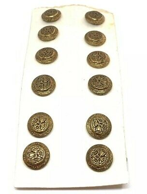 Beautiful 19th Century Brass Floral 15mm 12 Button Lot Antique Victorian