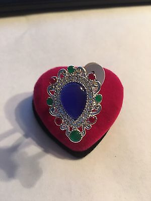 New Sterling Silver Plated Multi-Colored  Stone Ring Size 8-R240