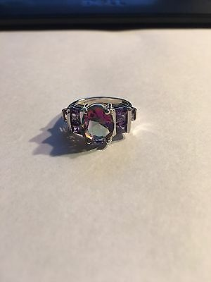 New Silver Plated Multi-Color Stone Rings Sizes 7--7.25--8--R415