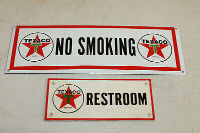 Texaco No Smoking Vintage Style Porcelain Enamel & Cast Iron Restroom Signs