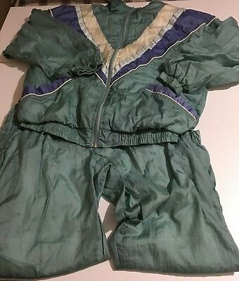 Vintage Women's Medium Green Retro Tracksuit Jacket Pants Jumper Fitness