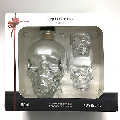 Original DAN AYKROYD Crystal Head Vodka Skull Bottle 750ml With 2 Shot Glasses