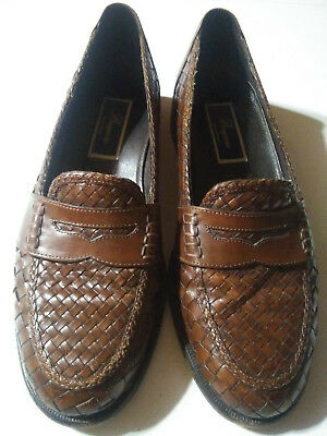 8a3ccb53061 Cole Haan Bragano Mens Woven Penny Loafers Calf 9.5 Italy Leather Shoes