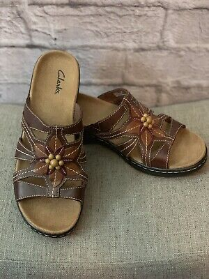c21b8956f64b Clarks Lexi Myrtle Brown Leather Slip On Sandals Wedge Heel Women s Size 8