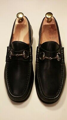 4d2ca6a89 GUCCI MEN'S BLACK Leather Horsebit Loafers 8 D (US 9) - $175.00 ...